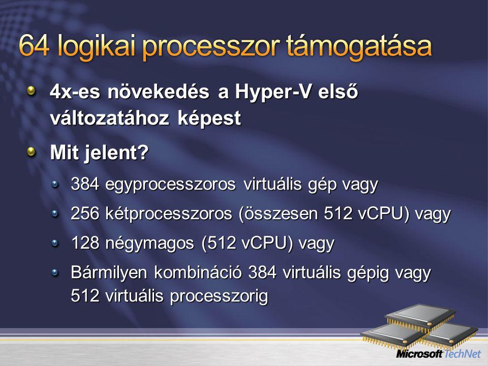 4x-es növekedés a Hyper-V első változatához képest Mit jelent? 384 egyprocesszoros virtuális gép vagy 256 kétprocesszoros (összesen 512 vCPU) vagy 128
