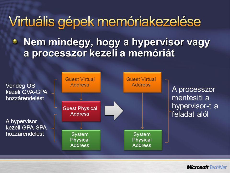 Nem mindegy, hogy a hypervisor vagy a processzor kezeli a memóriát Guest Virtual Address Guest Physical Address System Physical Address Vendég OS keze