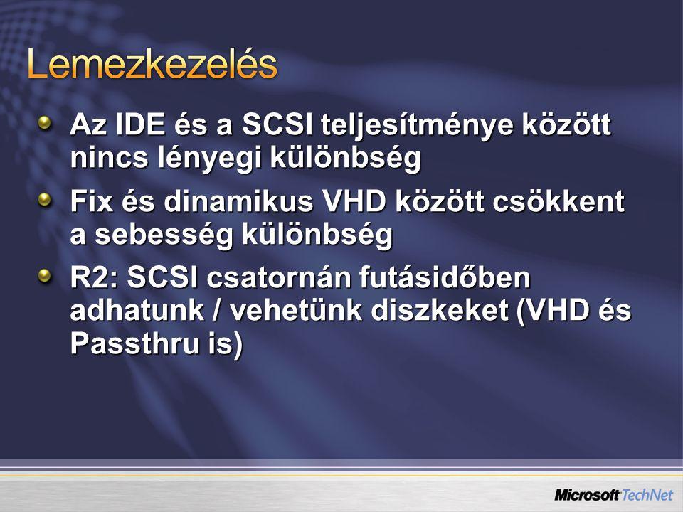 Az IDE és a SCSI teljesítménye között nincs lényegi különbség Fix és dinamikus VHD között csökkent a sebesség különbség R2: SCSI csatornán futásidőben