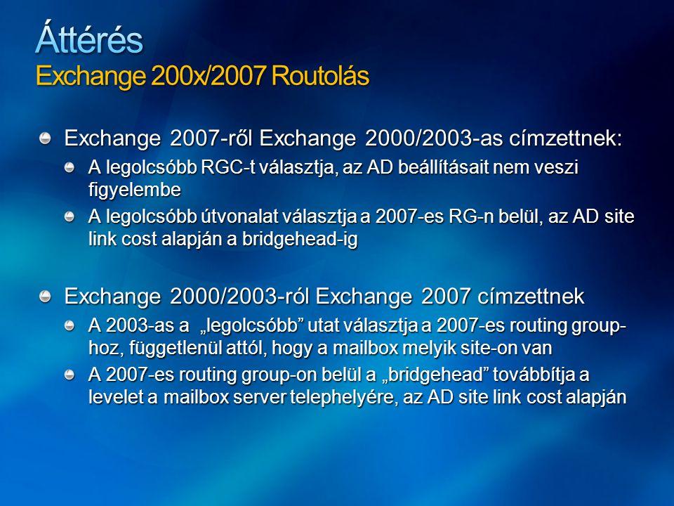 """Exchange 2007-ről Exchange 2000/2003-as címzettnek: A legolcsóbb RGC-t választja, az AD beállításait nem veszi figyelembe A legolcsóbb útvonalat választja a 2007-es RG-n belül, az AD site link cost alapján a bridgehead-ig Exchange 2000/2003-ról Exchange 2007 címzettnek A 2003-as a """"legolcsóbb utat választja a 2007-es routing group- hoz, függetlenül attól, hogy a mailbox melyik site-on van A 2007-es routing group-on belül a """"bridgehead továbbítja a levelet a mailbox server telephelyére, az AD site link cost alapján"""