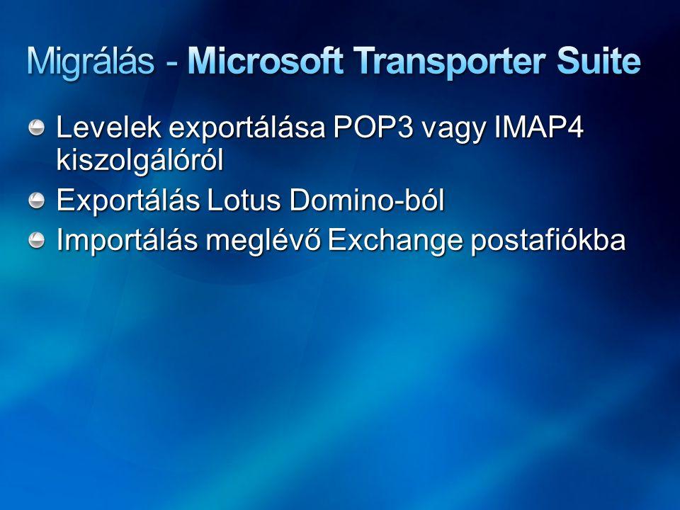 Levelek exportálása POP3 vagy IMAP4 kiszolgálóról Exportálás Lotus Domino-ból Importálás meglévő Exchange postafiókba
