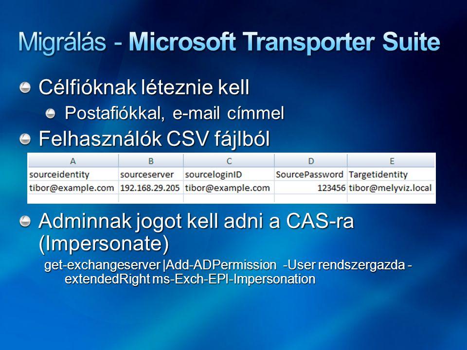 Célfióknak léteznie kell Postafiókkal, e-mail címmel Felhasználók CSV fájlból Adminnak jogot kell adni a CAS-ra (Impersonate) get-exchangeserver |Add-