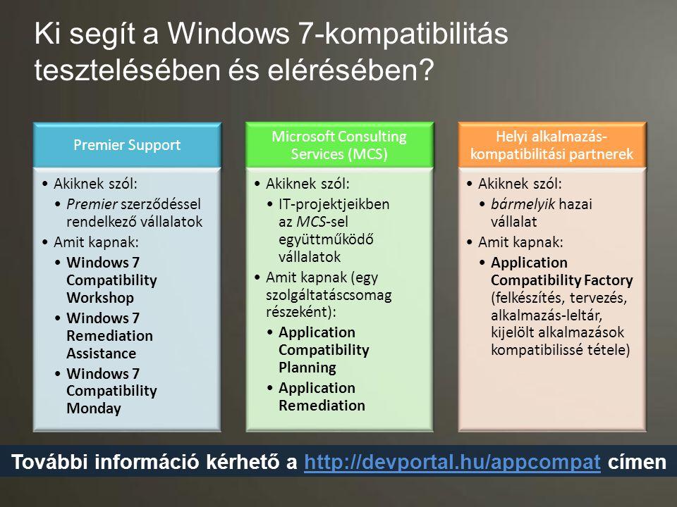 Ki segít a Windows 7-kompatibilitás tesztelésében és elérésében? Premier Support Akiknek szól: Premier szerződéssel rendelkező vállalatok Amit kapnak: