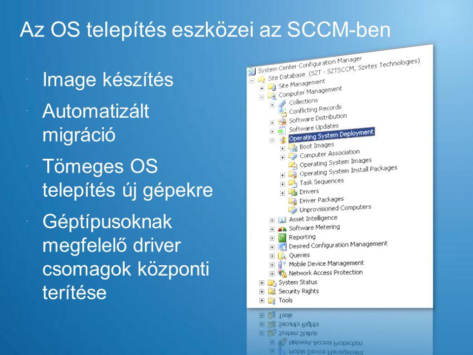 Az OS telepítés eszközei az SCCM-ben  Image készítés  Automatizált migráció  Tömeges OS telepítés új gépekre  Géptípusoknak megfelelő driver csoma