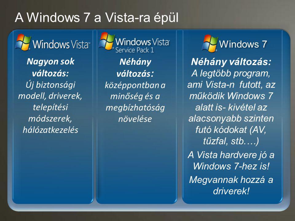 A Windows 7 a Vista-ra épül Néhány változás: A legtöbb program, ami Vista-n futott, az működik Windows 7 alatt is- kivétel az alacsonyabb szinten futó