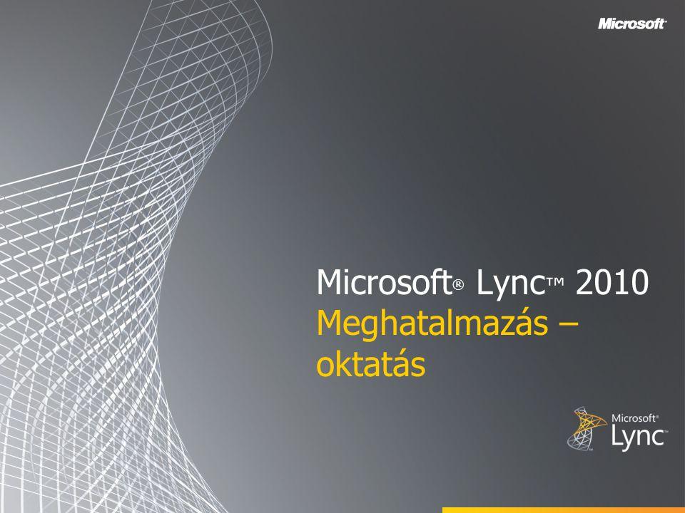 Célok Ez a tanfolyam az alábbi témaköröket tárgyalja: Meghatalmazotti hozzáférés beállítása az Outlook használatával Meghatalmazotti hozzáférés beállítása a Lync alkalmazásban Online értekezlet ütemezése a felettes nevében Nem ütemezett értekezlet indítása a felettes nevében Konferenciahívás kezdeményezése a felettes nevében