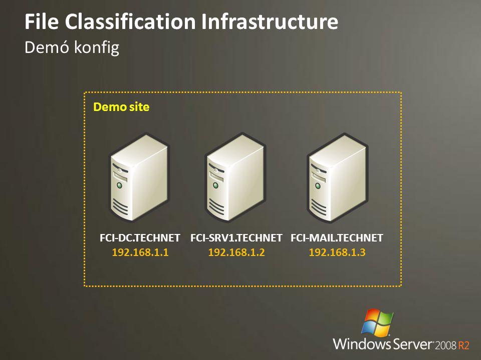 File Classification Infrastructure Demó konfig FCI-SRV1.TECHNET 192.168.1.2 Demo site FCI-DC.TECHNET 192.168.1.1 FCI-MAIL.TECHNET 192.168.1.3