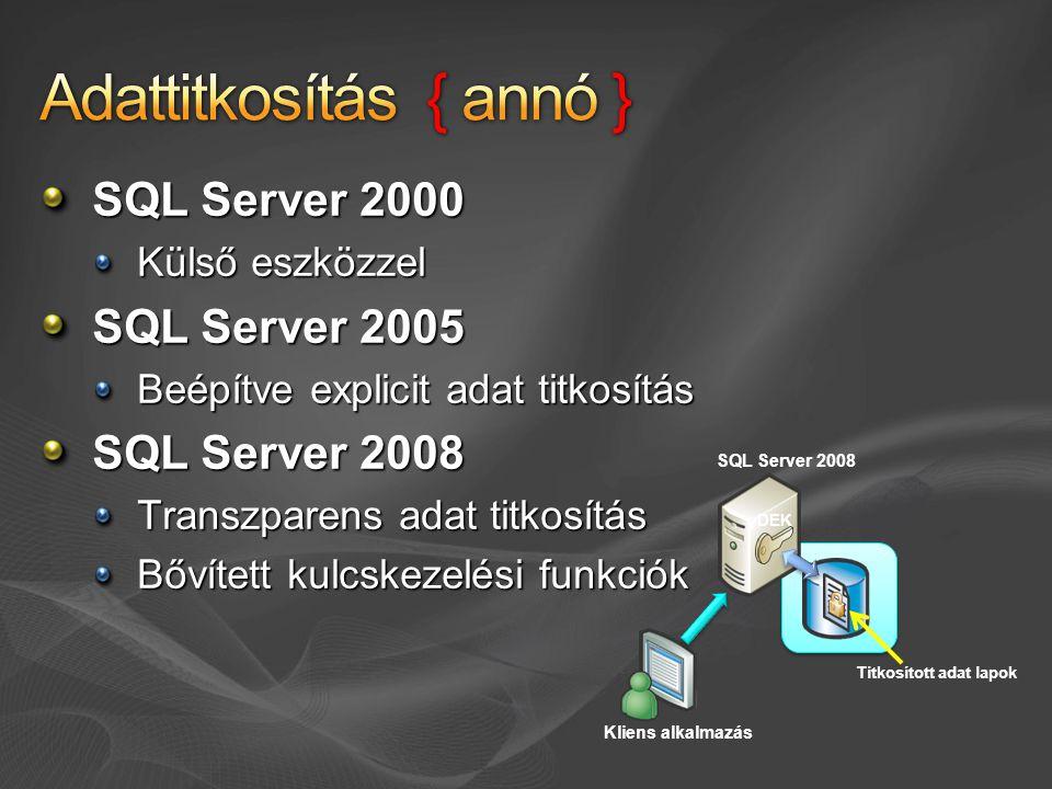 SQL Server 2000 Külső eszközzel SQL Server 2005 Beépítve explicit adat titkosítás SQL Server 2008 Transzparens adat titkosítás Bővített kulcskezelési funkciók SQL Server 2008 DEK Kliens alkalmazás Titkosított adat lapok