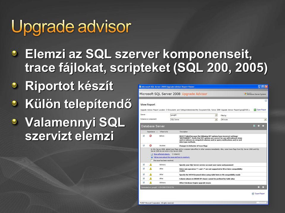 Elemzi az SQL szerver komponenseit, trace fájlokat, scripteket (SQL 200, 2005) Riportot készít Külön telepítendő Valamennyi SQL szervizt elemzi