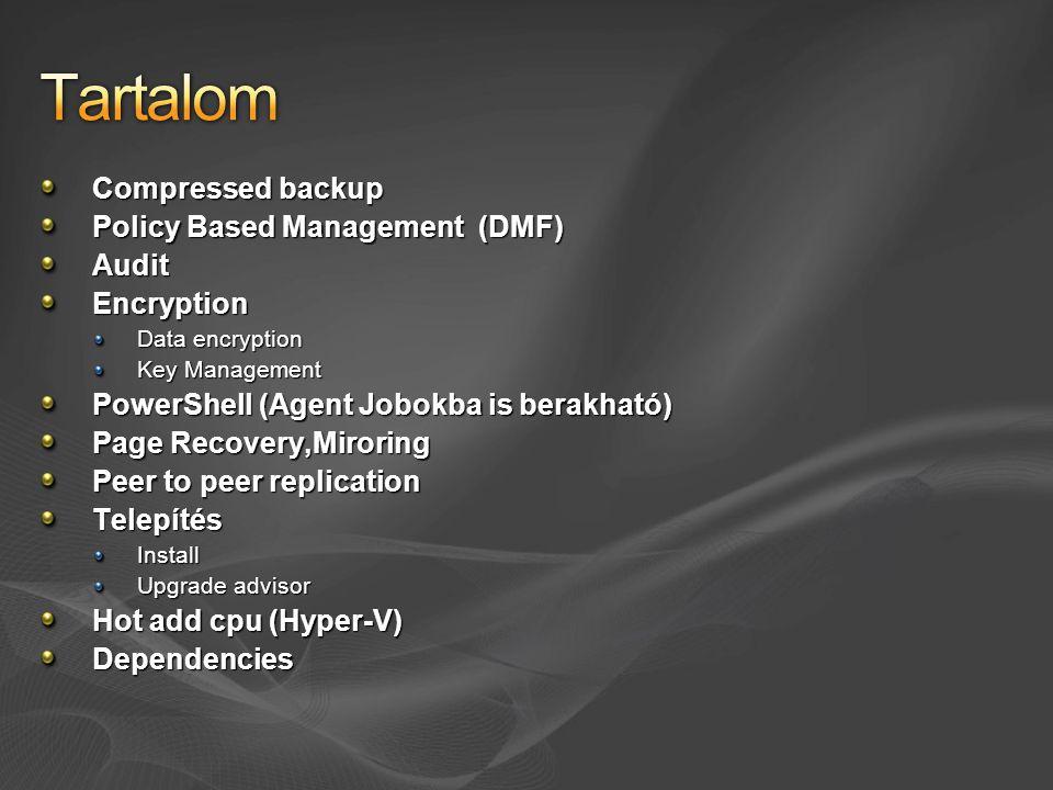 Compressed backup Policy Based Management (DMF) AuditEncryption Data encryption Key Management PowerShell (Agent Jobokba is berakható) Page Recovery,Miroring Peer to peer replication TelepítésInstall Upgrade advisor Hot add cpu (Hyper-V) Dependencies