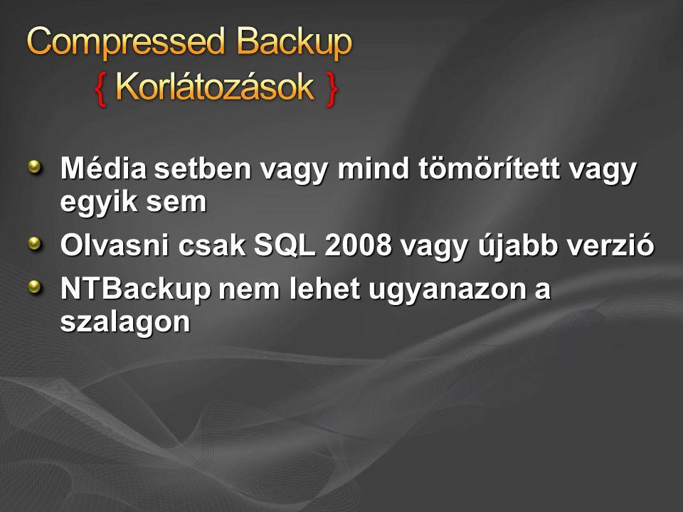 Média setben vagy mind tömörített vagy egyik sem Olvasni csak SQL 2008 vagy újabb verzió NTBackup nem lehet ugyanazon a szalagon