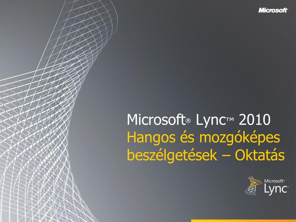 Microsoft ® Lync ™ 2010 Hangos és mozgóképes beszélgetések – Oktatás