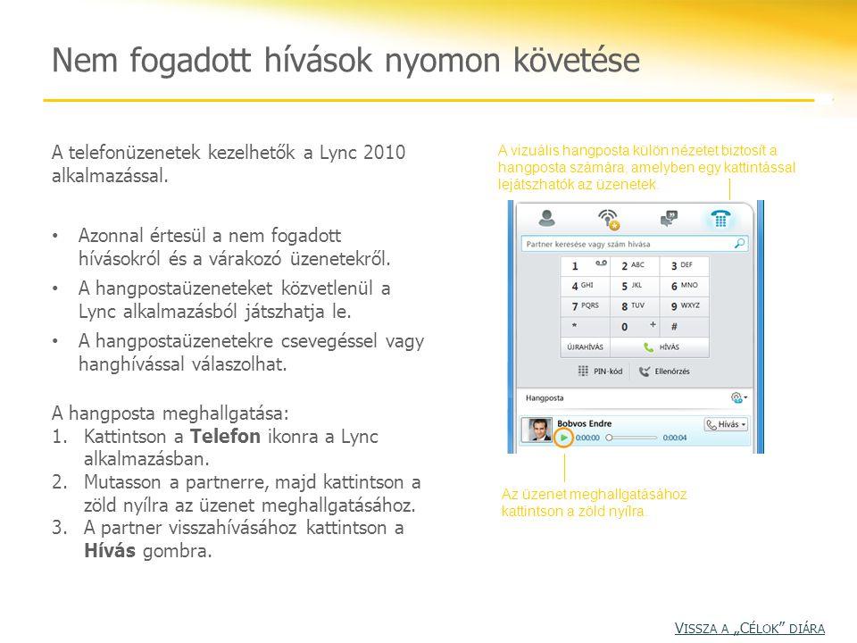 A telefonüzenetek kezelhetők a Lync 2010 alkalmazással. Azonnal értesül a nem fogadott hívásokról és a várakozó üzenetekről. A hangpostaüzeneteket köz