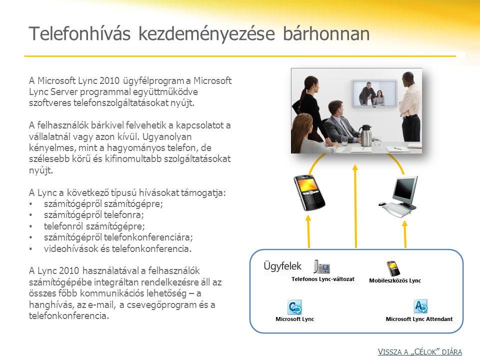 Telefonhívás kezdeményezése bárhonnan A Microsoft Lync 2010 ügyfélprogram a Microsoft Lync Server programmal együttműködve szoftveres telefonszolgáltatásokat nyújt.