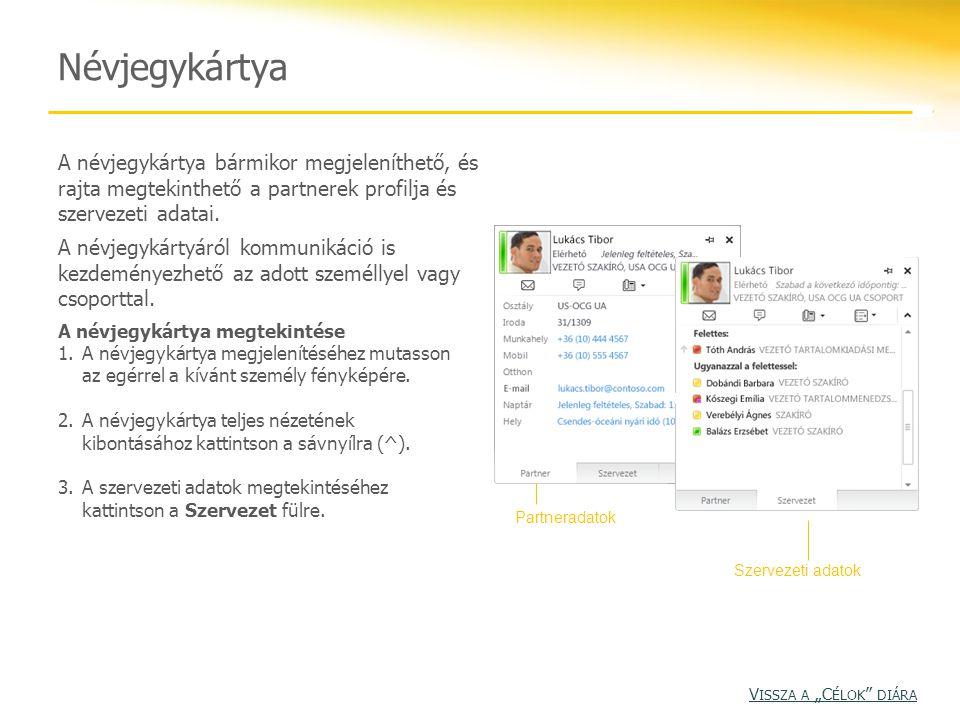 Névjegykártya A névjegykártya bármikor megjeleníthető, és rajta megtekinthető a partnerek profilja és szervezeti adatai. A névjegykártyáról kommunikác