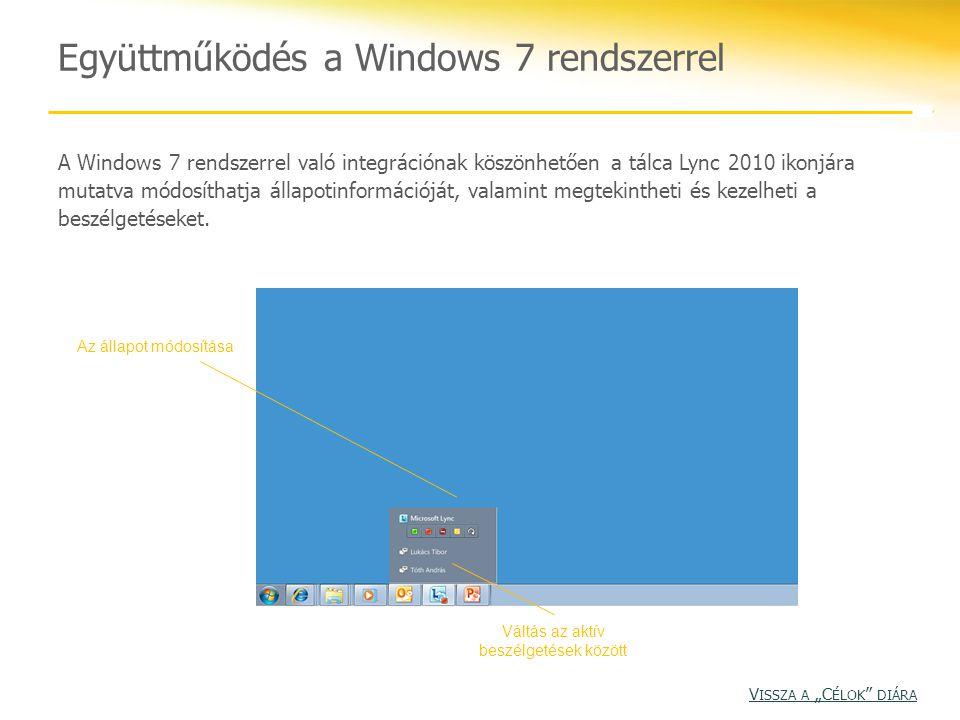 Együttműködés a Windows 7 rendszerrel A Windows 7 rendszerrel való integrációnak köszönhetően a tálca Lync 2010 ikonjára mutatva módosíthatja állapoti