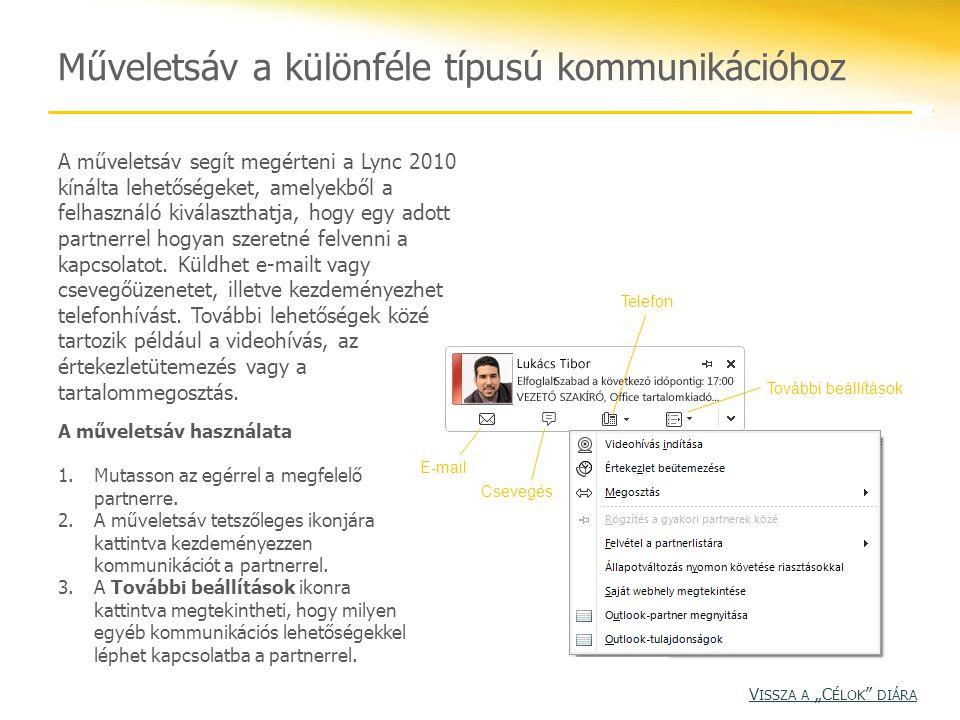 Műveletsáv a különféle típusú kommunikációhoz A műveletsáv segít megérteni a Lync 2010 kínálta lehetőségeket, amelyekből a felhasználó kiválaszthatja,