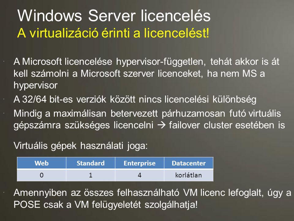  A Microsoft licencelése hypervisor-független, tehát akkor is át kell számolni a Microsoft szerver licenceket, ha nem MS a hypervisor  A 32/64 bit-e