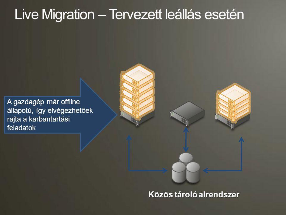 Processzor kompatibilitási mód  Lehetővé teszi, hogy azonos processzor családból származó (Intel-és-Intel vagy AMD-és-AMD), de különböző CPU verziók között működjön a Live Migration –az eltérő platformok közötti migrációt (Intel és AMD) NEM TÁMOGATJA –A kompatibilitás virtuális gépenként külön-külön szabályozható Előnyök: –Nagyobb rugalmasság a Cluster kialakításkor –Szélesebb spektrumban támogatja a Host gépekhez választható hardvereket