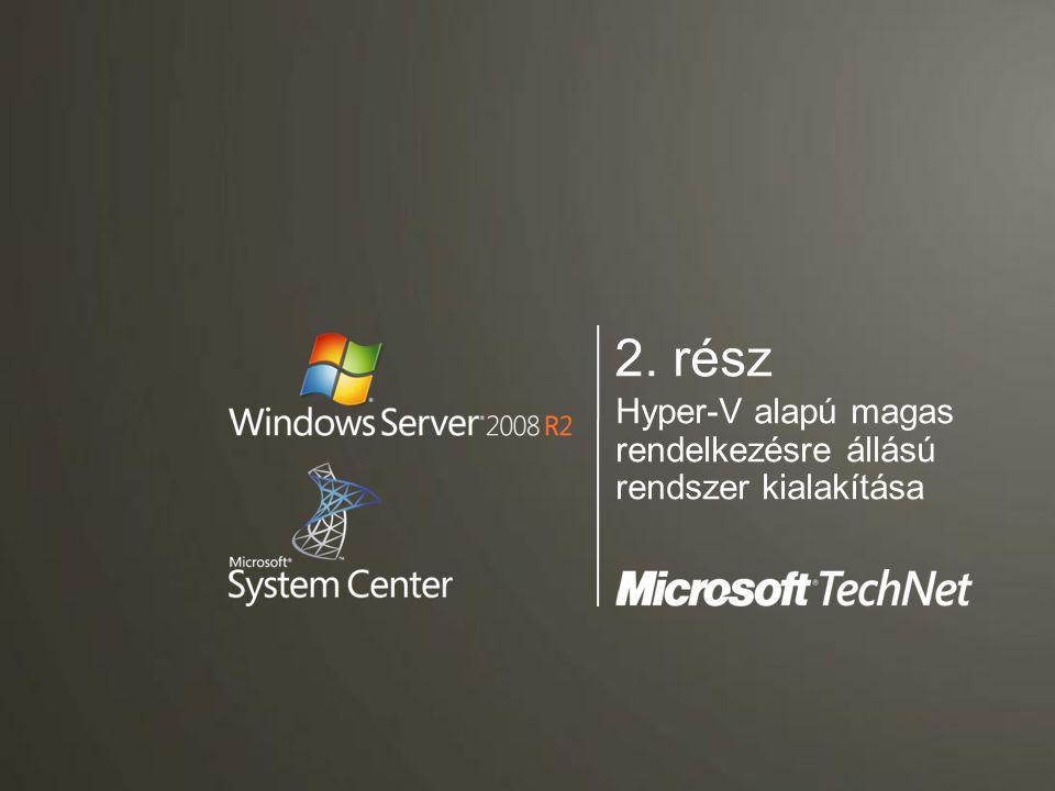 Tartalom  Bevezetés - Hyper-V R2 bemutatása  Magas rendelkezésre állású rendszerek kialkaítása Hyper-V alapokon  Virtualizált környezet felügyelete a System Center Virtual Machine Manager 2008 használatával
