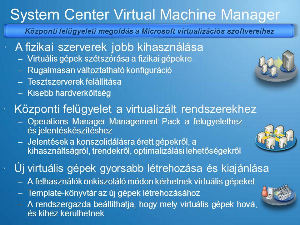 SCVMM 2008 architektúra KonnektorKonnektor Windows® PowerShell Önkiszolgáló portál Admin konzol Virtual Center Server Felügyeleti konzolok SAN tároló alrendszer VMM Library Server Sablonok ISOVHD Admin konzol Web konzol VMware VI3 ESX Host VM XML VM Windows ® PowerShell
