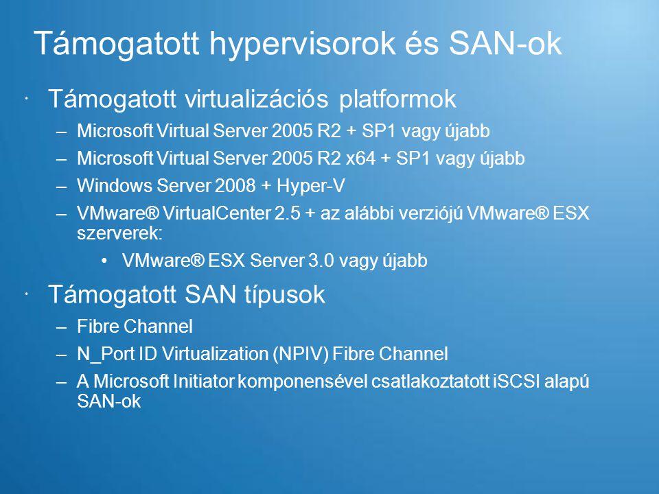 Támogatott hypervisorok és SAN-ok  Támogatott virtualizációs platformok –Microsoft Virtual Server 2005 R2 + SP1 vagy újabb –Microsoft Virtual Server
