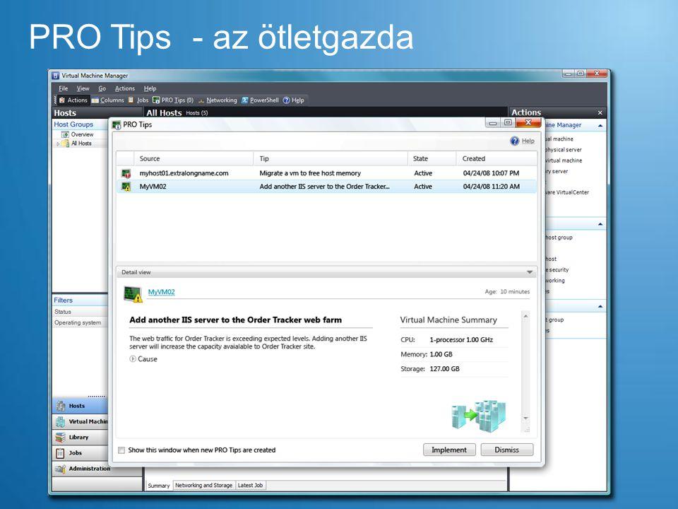 Disk 1 Disk 2 Quick Storage migráció 1.Checkpoint létrehozása – írás/olvasás a differenciális lemezre történik 2.Az alap VHD átmásolása a Disk 2-re 3.A VM futásának felfüggesztése és a VM + a diff.