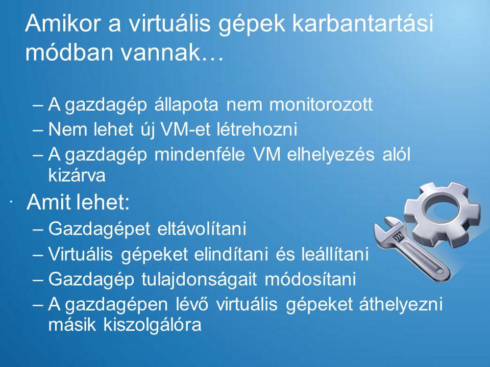 Amikor a virtuális gépek karbantartási módban vannak… –A gazdagép állapota nem monitorozott –Nem lehet új VM-et létrehozni –A gazdagép mindenféle VM e