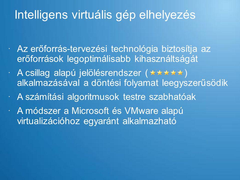  Egyszerűen használható eszközök: –A VMM alapszoftver tudásának része, nincs szükség további alkalmazásra –Varázsló alapú működés –Hatékony diszkmásolás –Megtartja a hálózati beállításokat és a MAC címet –PowerShell használatával automatizálható  Támogatott rendszerek –Futás közbeni – Windows XP, Windows Server 2003, Windows Vista, Windows 7 és Windows Server 2008 –Offline – Windows 2000 Server Konverziók: P2V és V2V