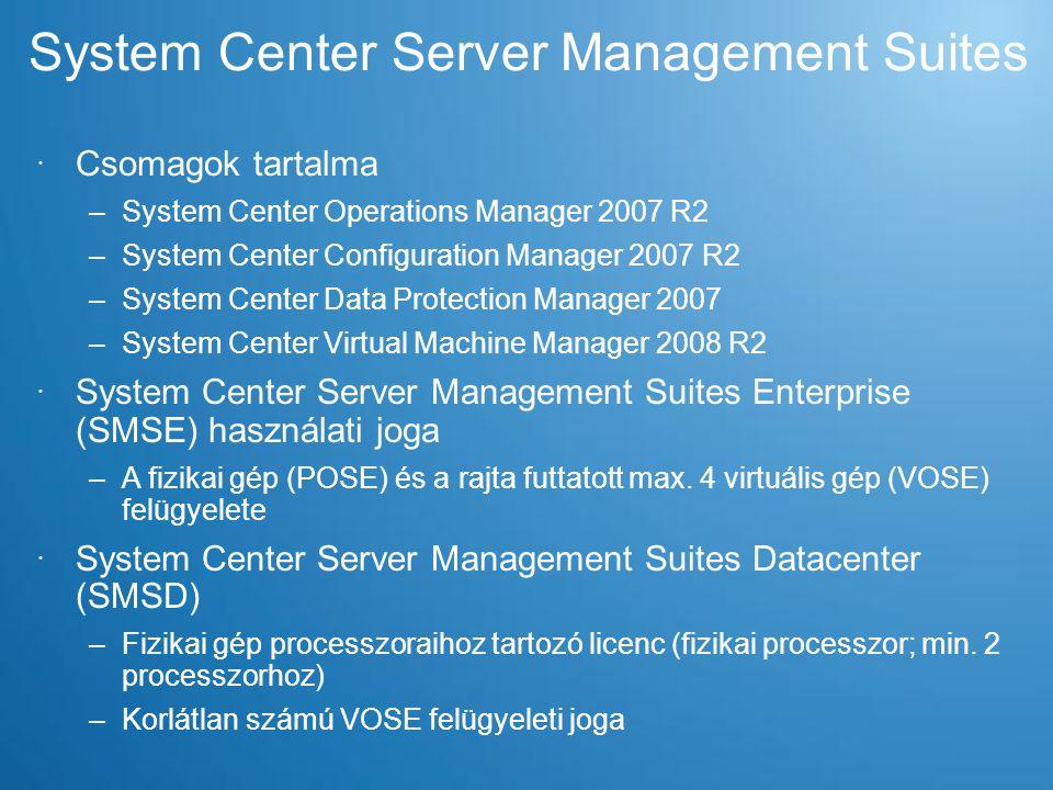 Megoldás kicsiknek és nagyoknak Felhasználási területek Kis rendszerKözepes rendszer Nagy rendszer Tesztrendszer Hv Srv 2008 R2 + Server Manager Hyper-V + SCE 2010 Hyper-V + SCOM + SCVMM Workgroup Hyper-V + SMSD Szerverkonszolidáció Hv Srv 2008 R2 + Server Manager Hyper-V + SCE 2010 Hyper-V + SCOM + SCVMM Workgroup Hyper-V + SMSD Fiókiroda modernizáció -Hyper-V + SMSEHyper-V + SMSD Dinamikus adatközpont --Hyper-V + SMSD Disaster Recovery --Hyper-V + SMSD