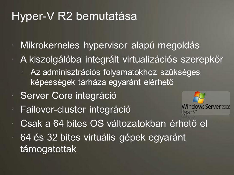 Szülő partíció Gyermek partíciók Kernel mód User mód Virtualization Service Providers (VSPs) Windows Kernel Server Core IHV meghajtók Virtualization Service Clients (VSCs) Windows Kernel Enlightenments VMBus Windows hypervisor Virtualizációs réteg VM munka- folyamatok VM szolgáltatás WMI Provider Alkalmazások Designed for Windows szerver hardver Hyper-V felépítése
