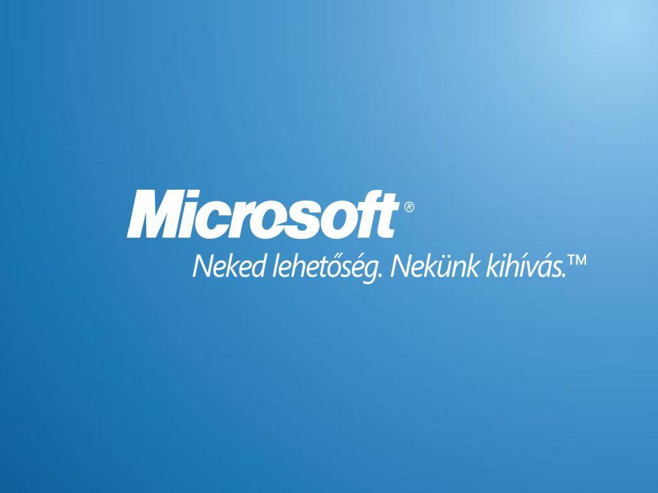 Függelék - Szerver virtualizáció Windows Server 2008 Standard Edition  Megenged egy VM-ben futó példányt  Egy második példány futhat a fizikai kiszolgálón (Physical Operating System Environment: POSE) –Ez a példány kizárólag a VM felügyeletét szolgálhatja –Olyan alkalmazások telepíthetők rá, amelyek a virtuális példány menedzselik  Lehetővé teszi egy korábbi verziójú Standard edition futtatását Szerver hardver AlkalmazásAlkalmazás AlkalmazásAlkalmazás AlkalmazásAlkalmazás AlkalmazásAlkalmazás