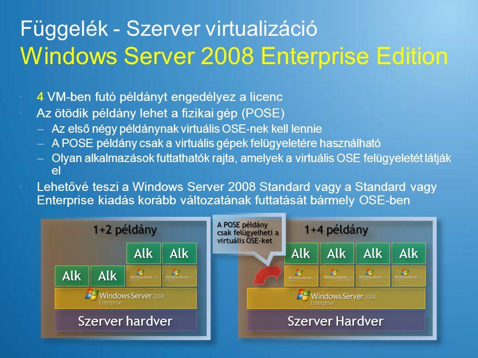 Függelék - Szerver virtualizáció Windows Server 2008 Datacenter  Korlátlan VM példány futtatásának jogát tartalmazza –Windows Server 2008 Standard, Enterprise, és/vagy Datacenter kiadás is futtatható a VM- ekben –Nincs megkötés a POSE-ben futó alkalmazásokra  Elérhet Volume Licensing keretében 2 vagy több processzoros kiszolgálókra  Minden processzorra meg kell venni  Per Processor + CAL licenceelési modellt követ –Megjegyzés: Sohasem a processzor magok után kell fizetni.