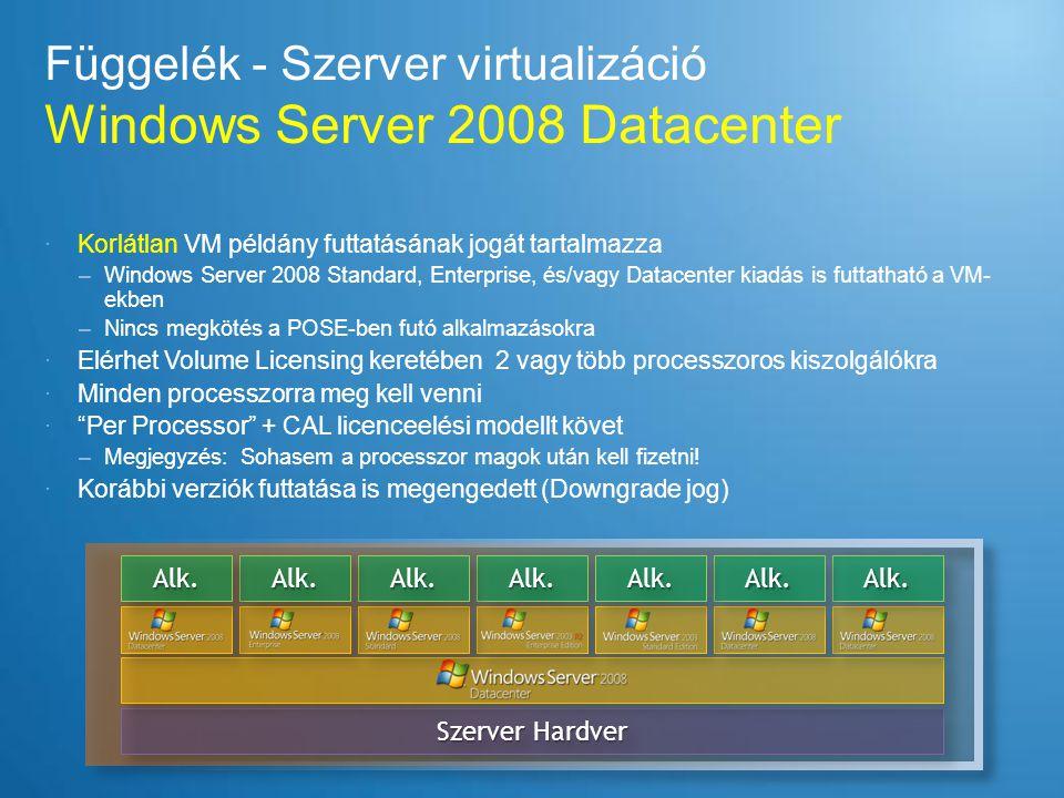 Függelék - Szerver virtualizáció Windows Server 2008 Datacenter  Korlátlan VM példány futtatásának jogát tartalmazza –Windows Server 2008 Standard, E