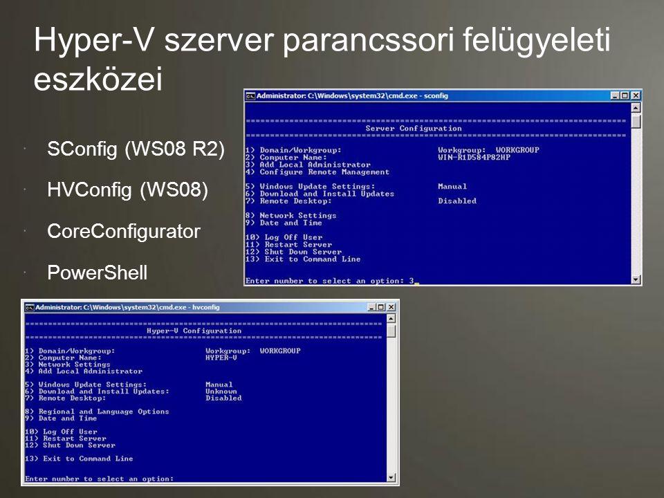 Felhasználási területek és képességek Virtualizációs igények Microsoft Hyper-V Server 2008 R2 Windows Server 2008 R2 Standard Windows Server 2008 R2 Enterprise Windows Server 2008 R2 Datacenter Megoldások Szerver konszolidáció  Tesztelés és fejlesztés  Fiókiroda kiszolgálók konszolidációja  Virtual Desktop Infrastructure (VDI)  Vegyes OS virtualizációk (Linux és Windows)  Dinamikus adatközpont  Képességek Host clustering  Live Migration  > 32 GB memóriatámogatás a gazdagépben  > 4 processzortámogatás a gazdagépben  GUI felület  További telepíthető szerverszerepek  A gazdagép licenc vendéggépre vonatkozó virtualizációs jogot tartalmaz  Alkalmazás redundancia 