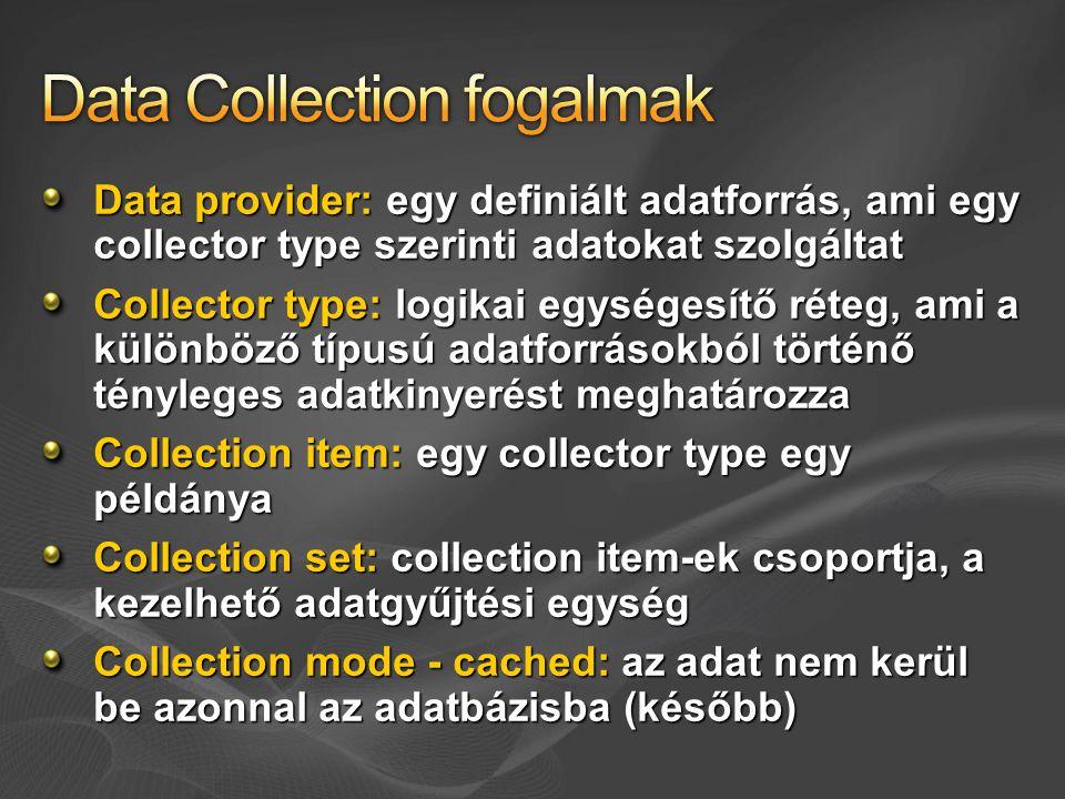 Data provider: egy definiált adatforrás, ami egy collector type szerinti adatokat szolgáltat Collector type: logikai egységesítő réteg, ami a különböz