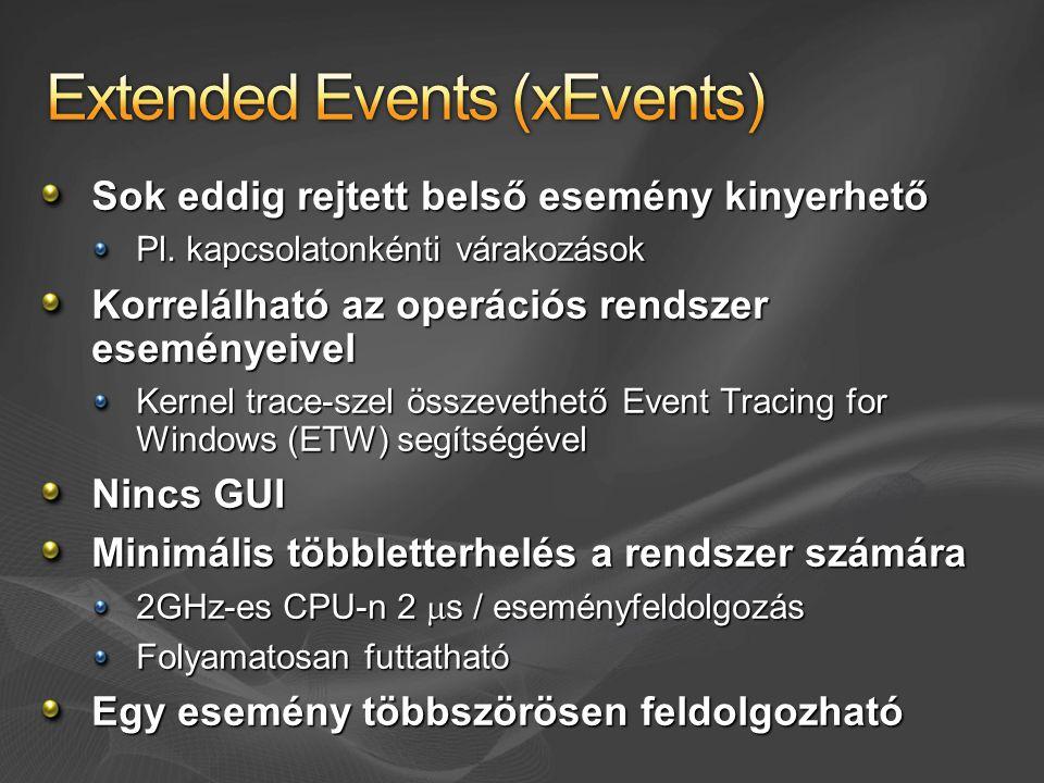 Sok eddig rejtett belső esemény kinyerhető Pl. kapcsolatonkénti várakozások Korrelálható az operációs rendszer eseményeivel Kernel trace-szel összevet