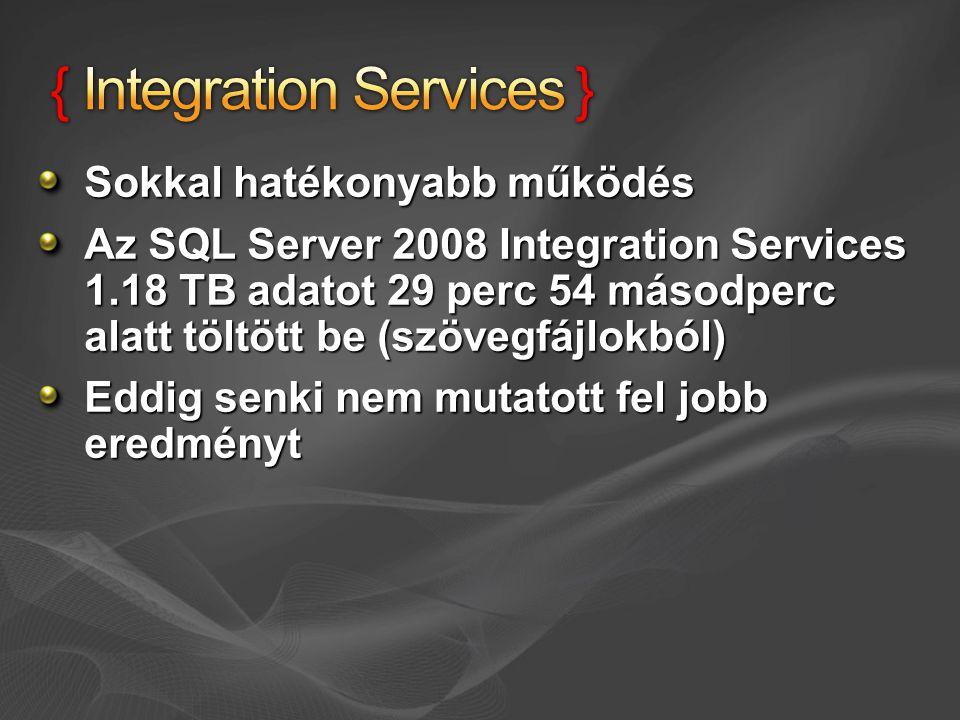 Sokkal hatékonyabb működés Az SQL Server 2008 Integration Services 1.18 TB adatot 29 perc 54 másodperc alatt töltött be (szövegfájlokból) Eddig senki
