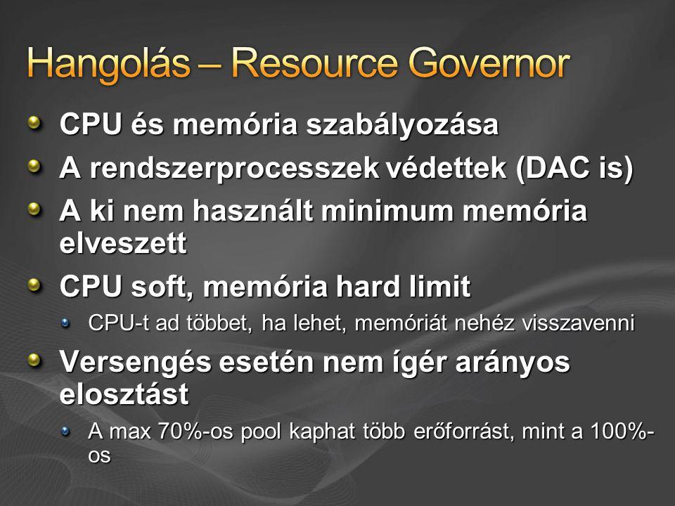 CPU és memória szabályozása A rendszerprocesszek védettek (DAC is) A ki nem használt minimum memória elveszett CPU soft, memória hard limit CPU-t ad t