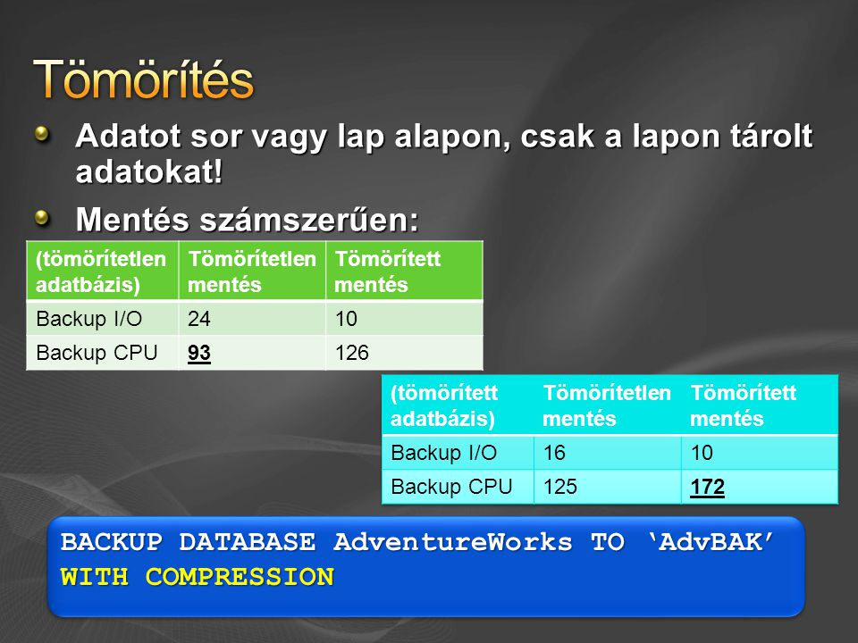 Adatot sor vagy lap alapon, csak a lapon tárolt adatokat! Mentés számszerűen: BACKUP DATABASE AdventureWorks TO 'AdvBAK' WITH COMPRESSION (tömörítetle