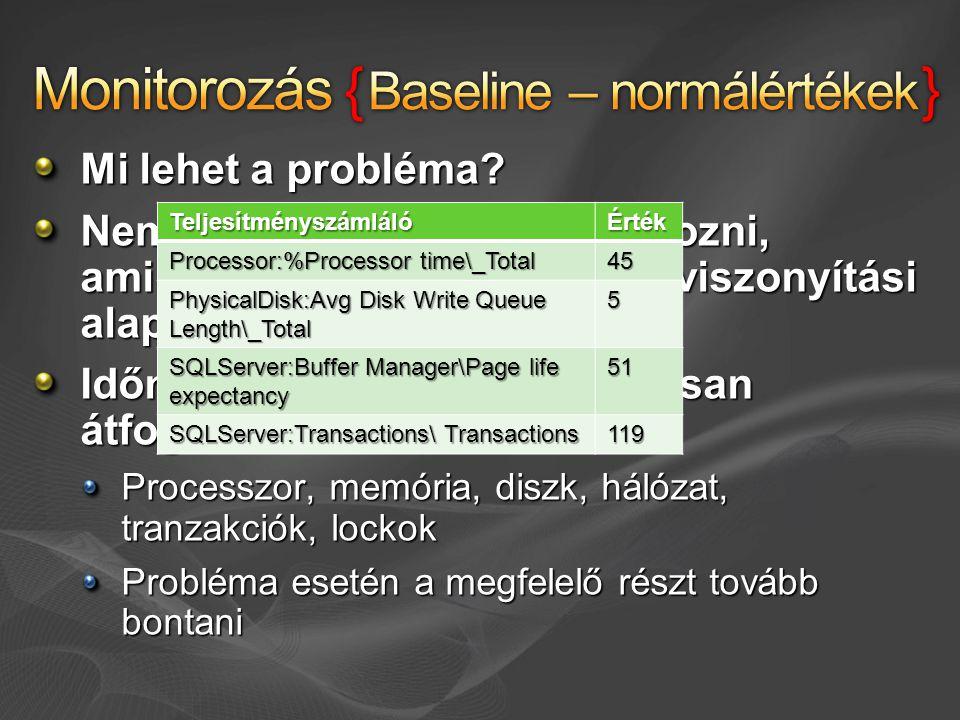 Mi lehet a probléma? Nem elég csak akkor monitorozni, amikor probléma van – kell a viszonyítási alap Időnként alaposan, folyamatosan átfogóan Processz