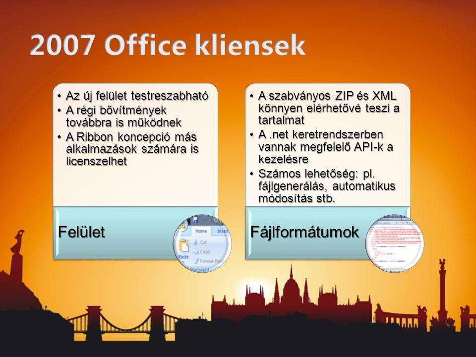 Az új felület testreszabhatóAz új felület testreszabható A régi bővítmények továbbra is működnekA régi bővítmények továbbra is működnek A Ribbon koncepció más alkalmazások számára is licenszelhetA Ribbon koncepció más alkalmazások számára is licenszelhet Felület A szabványos ZIP és XML könnyen elérhetővé teszi a tartalmatA szabványos ZIP és XML könnyen elérhetővé teszi a tartalmat A.net keretrendszerben vannak megfelelő API-k a kezelésreA.net keretrendszerben vannak megfelelő API-k a kezelésre Számos lehetőség: pl.