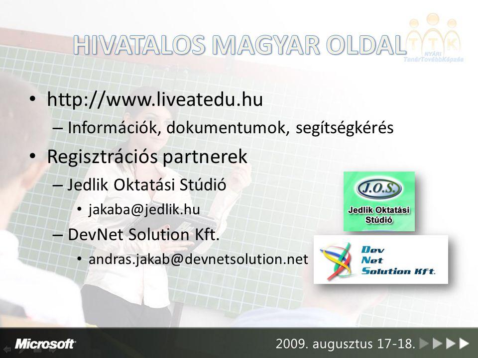 http://www.liveatedu.hu – Információk, dokumentumok, segítségkérés Regisztrációs partnerek – Jedlik Oktatási Stúdió jakaba@jedlik.hu – DevNet Solution