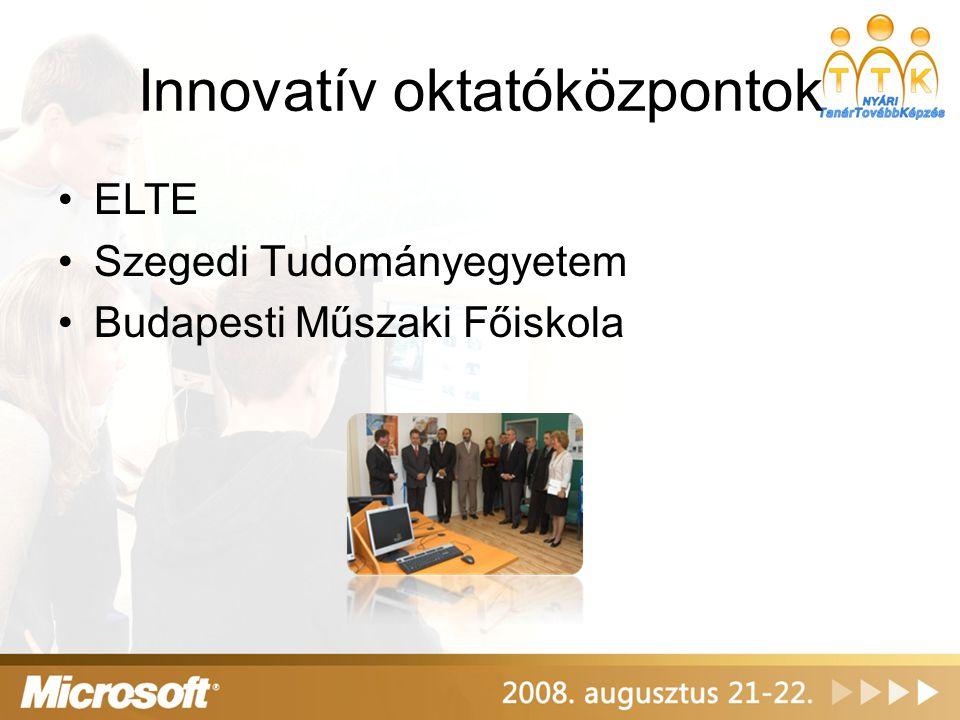 Innovatív oktatóközpontok ELTE Szegedi Tudományegyetem Budapesti Műszaki Főiskola