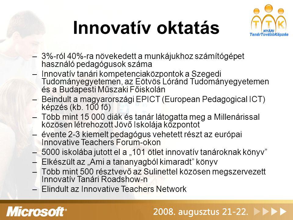 Innovatív oktatás –3%-ról 40%-ra növekedett a munkájukhoz számítógépet használó pedagógusok száma –Innovatív tanári kompetenciaközpontok a Szegedi Tudományegyetemen, az Eötvös Lóránd Tudományegyetemen és a Budapesti Műszaki Főiskolán –Beindult a magyarországi EPICT (European Pedagogical ICT) képzés (kb.