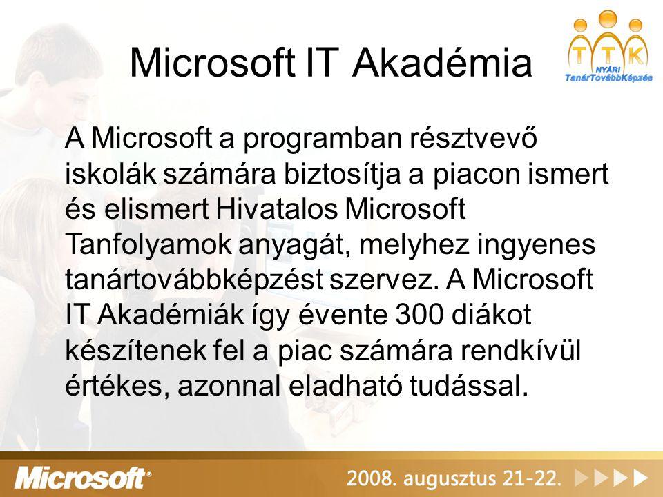 Microsoft IT Akadémia A Microsoft a programban résztvevő iskolák számára biztosítja a piacon ismert és elismert Hivatalos Microsoft Tanfolyamok anyagát, melyhez ingyenes tanártovábbképzést szervez.