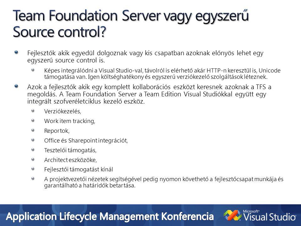 Fejlesztők akik egyedül dolgoznak vagy kis csapatban azoknak előnyös lehet egy egyszerű source control is. Képes integrálódni a Visual Studio-val, táv