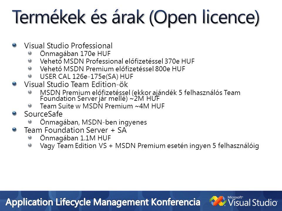 Visual Studio Professional Önmagában 170e HUF Vehető MSDN Professional előfizetéssel 370e HUF Vehető MSDN Premium előfizetéssel 800e HUF USER CAL 126e