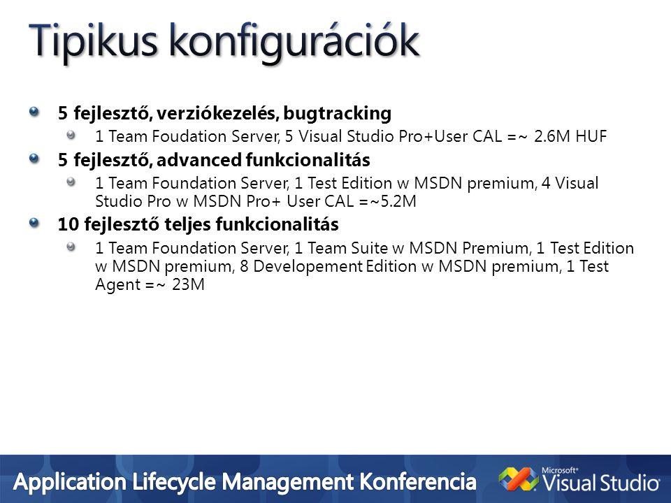 5 fejlesztő, verziókezelés, bugtracking 1 Team Foudation Server, 5 Visual Studio Pro+User CAL =~ 2.6M HUF 5 fejlesztő, advanced funkcionalitás 1 Team