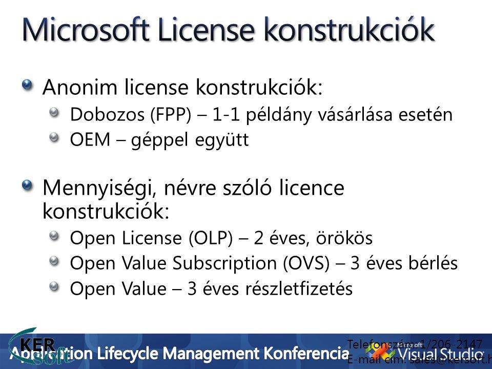 Anonim license konstrukciók: Dobozos (FPP) – 1-1 példány vásárlása esetén OEM – géppel együtt Mennyiségi, névre szóló licence konstrukciók: Open Licen